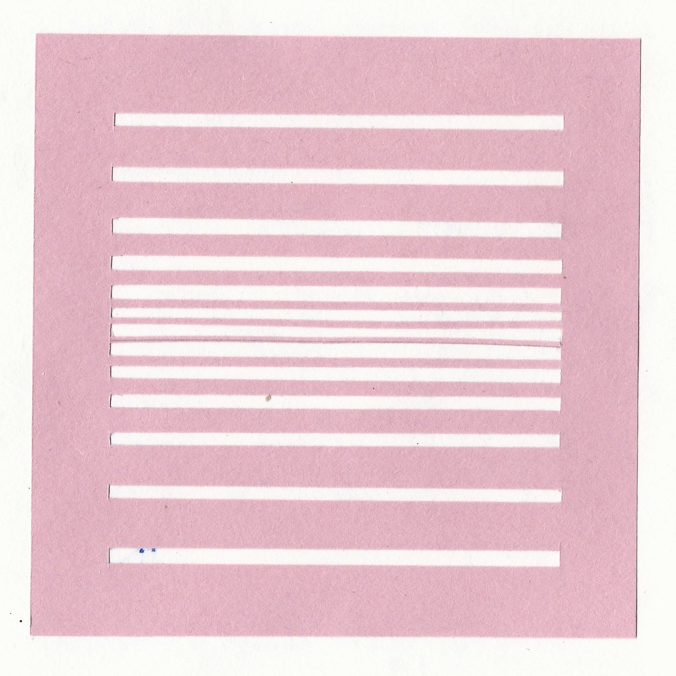 An experiment where slits are cut in a pink piece of paper. The slits get closer together nearer the center to create depth and a vanishing point. By Designer Nick Barry