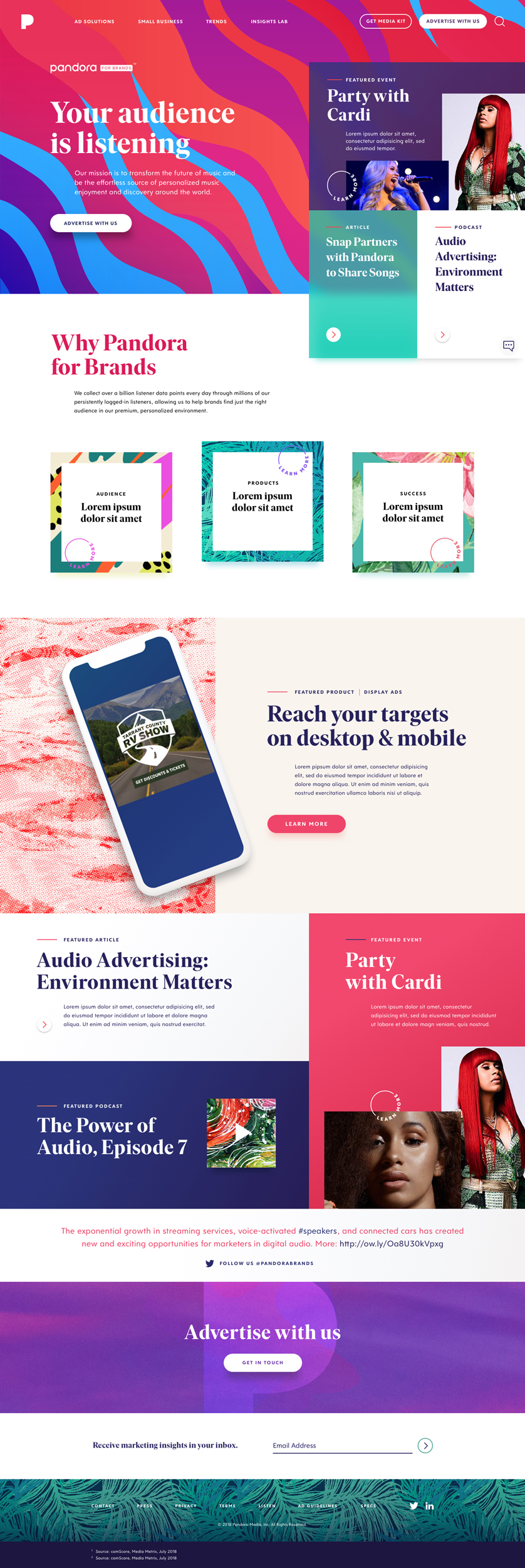 Pandora for Brands redesign. Homepage design showing eclectic colour palette and flexibility of components.
