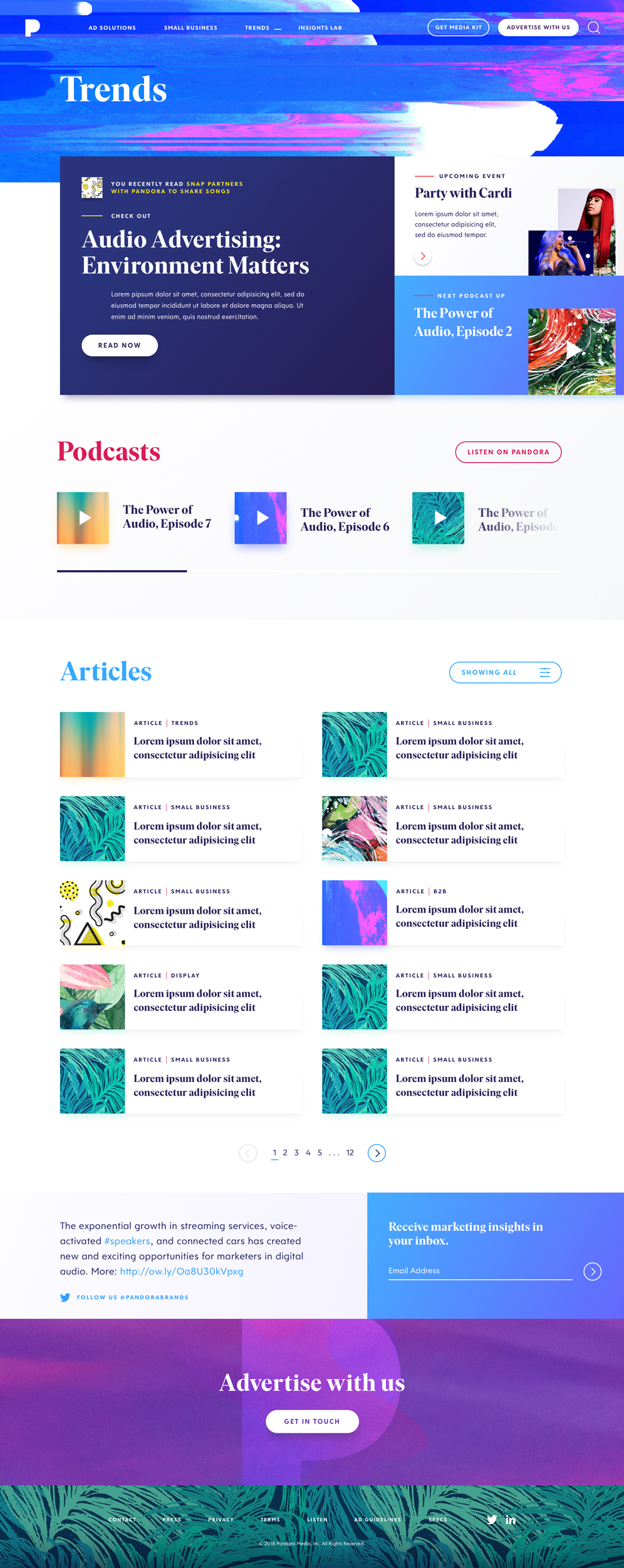 Pandora for Brands redesign. Trends page showing an alternative colour scheme showcasing media types